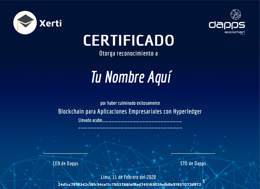 Certificado Hyperledger
