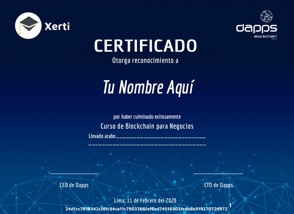 Certificado de blockchain para negocios