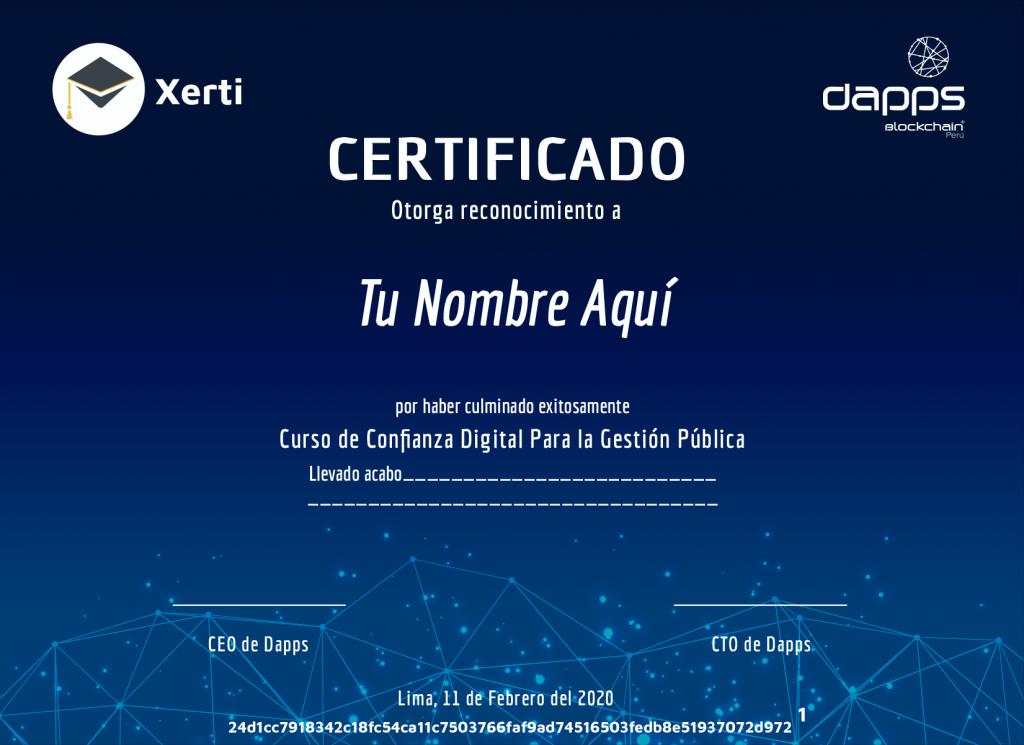 Certificado de gestión pública