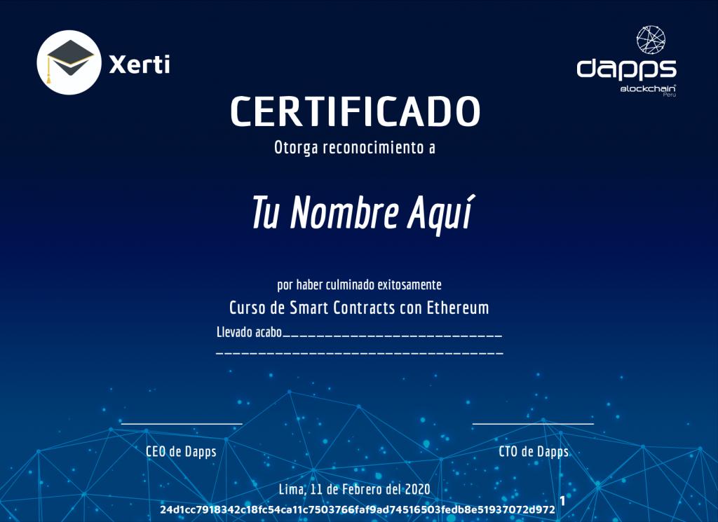 Certificado de smart contracts